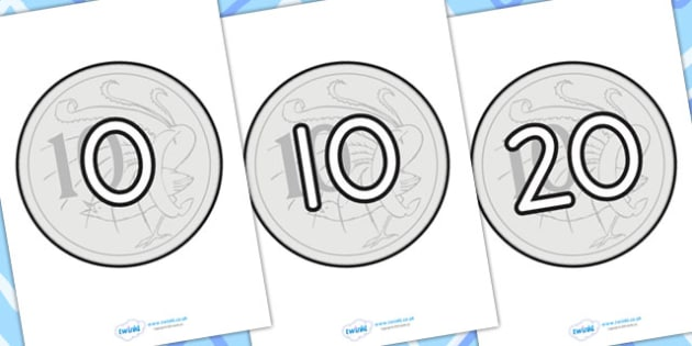 Counting In 10s On 10c - counting, 10s, money, coins, maths
