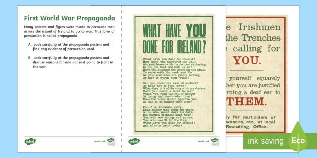 First World War Propaganda Northern Ireland Writing Stimulus Picture