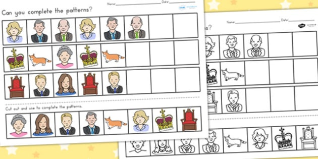 Royal Family Complete the Pattern Worksheets - queen, patterns