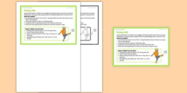 Foundation PE (Reception) Kicking a Ball Teacher Support Card - EYFS, PE, Physical Development, Planning