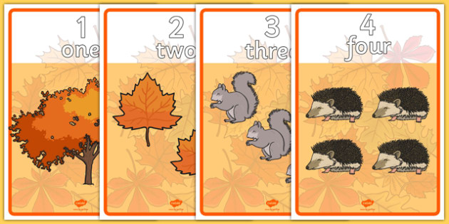 Autumn Number and Word Posters - autumn, number, word, posters, display