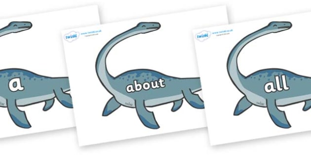 100 High Frequency Words on Plesiosaur - High frequency words, hfw, DfES Letters and Sounds, Letters and Sounds, display words