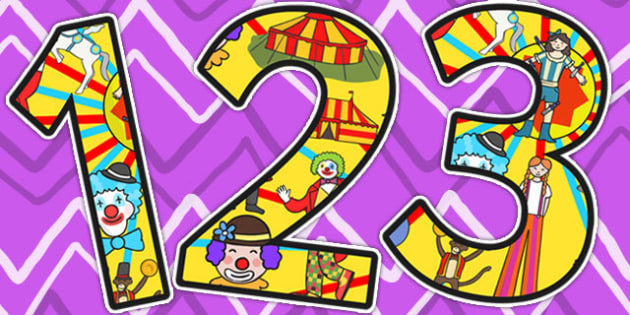 Circus Themed Display Numbers - numbers, classroom display