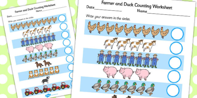Farmer and Duck Counting Sheet - farmer duck, counting sheets, counting, themed counting sheets, counting worksheet, farmer duck worksheet, numeracy, maths