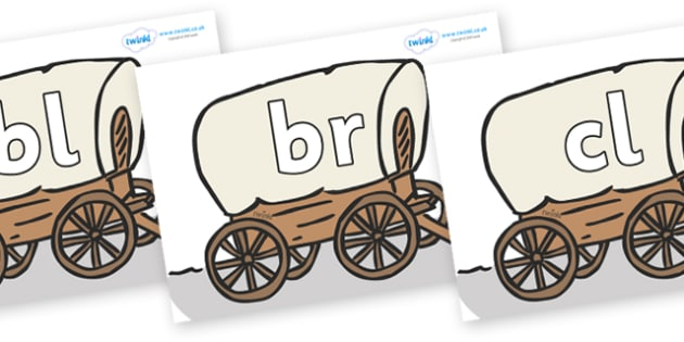 Initial Letter Blends on Wagons - Initial Letters, initial letter, letter blend, letter blends, consonant, consonants, digraph, trigraph, literacy, alphabet, letters, foundation stage literacy