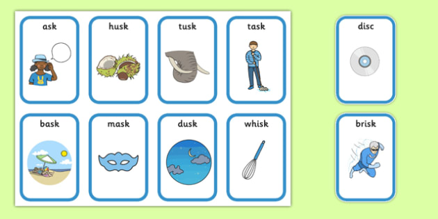 Word Final SC SK Playing Cards - speech sounds, phonology, articulation, speech therapy, cluster reduction