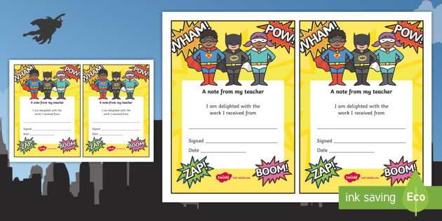 Note From Teacher Delighted With Work (Superhero Themed) - note from teacher delighted with work, delighted with work, note from teacher, notes, praise, comment, note, teacher, teacher's, parents, delighted, work, superhero themed, superhero, superhe
