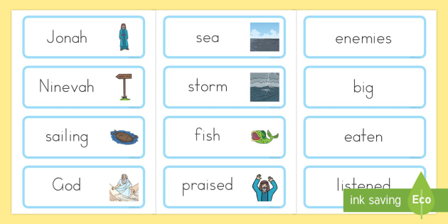 Jonah and the Big Fish Word Cards - bible stories, Jonah, Jonah display banner, bible story word cards, Judaism