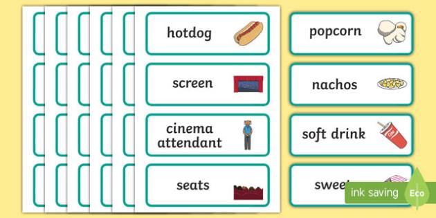 Cinema Role Play Word Cards - Cinema, Film, movie, Role play, play, word card, flashcards, popcorn, ticket, flick, love, drama, action, genres