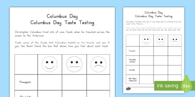 Columbus Day Taste Testing Activity