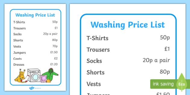 Laundrette Role Play Washing Price List - washing, laundrette, washing machine, wash, price list, prices, list, washing powder, clothes, socks, T-shirt, trousers