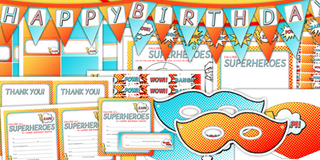 Superhero Themed Birthday Party Pack - superheroes, parties