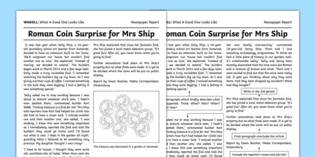 WAGOLL Newspaper Report Writing Sample