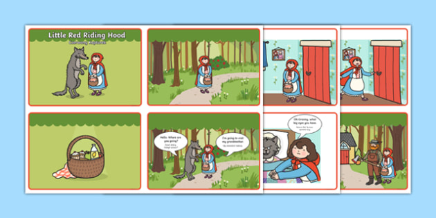 Little Red Riding Hood Story Sequencing 4 per A4 Speech Bubbles Polish Translation - polish, Little Red Riding Hood, traditional tales, tale, fairy tale, Wolf, Grandma, woodcutter, bed, cottage, forest, what big teeth you have