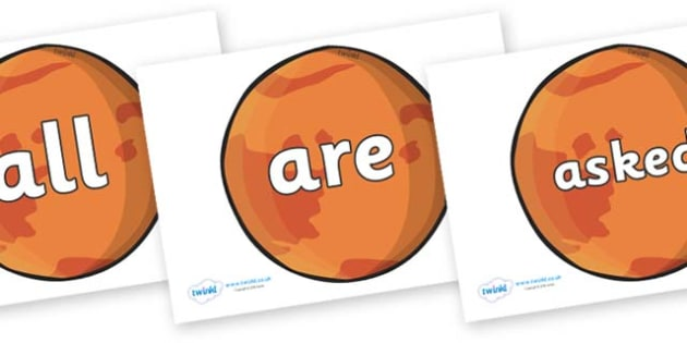 Tricky Words on Mars - Tricky words, DfES Letters and Sounds, Letters and sounds, display, words