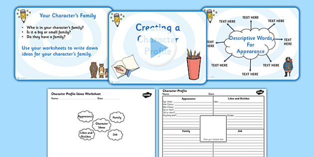 Writing and Creating a Character Profile Powerpoint and Worksheet - writing and creating a character profile, character powerpoint, character worksheet