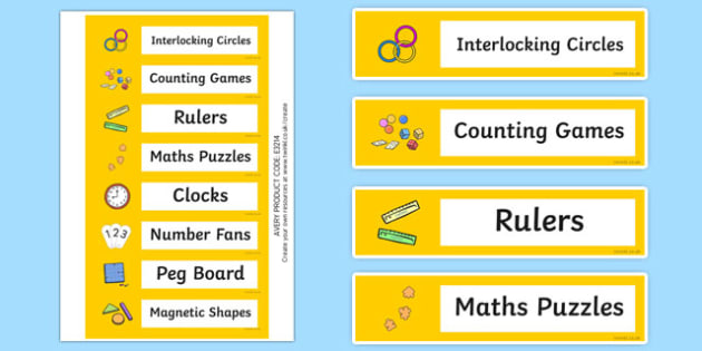 Maths Resource Editable Labels - numeracy, signs, labels, math