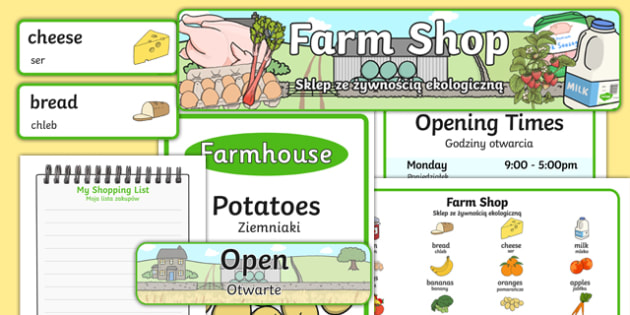 Farm Shop Role Play Pack Polish Translation - polish, Farm Shop Role Play, farm shop resources, Role Play Pack - role play, Display signs, display, labels, packfarm, milk, cheese, eggs, till, animals, meat, cheese, living things, butcher, role play,