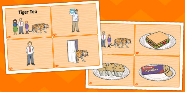 The Tiger Who Came To Tea Story Sequencing 4 Per A4 Tiger