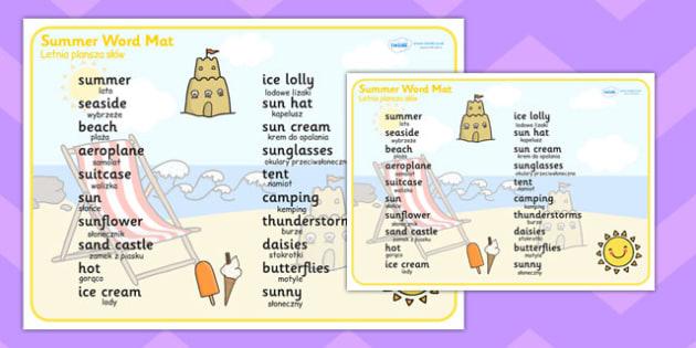 Polish Translation Summer Word Mat - polish, summer, word mat