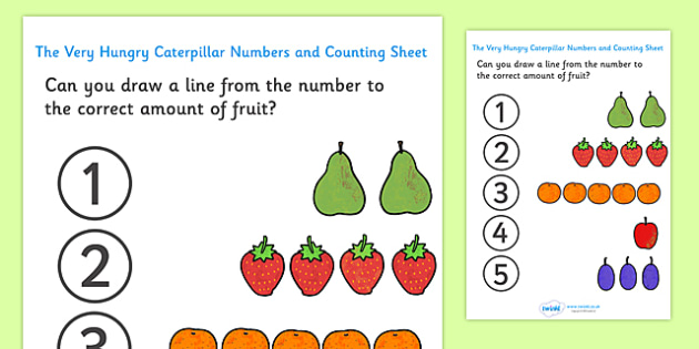 Numbers and Counting Sheet to Support Teaching on The Very Hungry Caterpillar - counting, numbers, the Very Hungry Caterpillar,  Eric Carle, resources, Hungry Caterpillar, life cycle of a butterfly, days of the week, food, fruit, story, story book, s