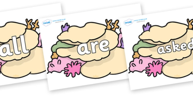 Tricky Words on Sea Corals - Tricky words, DfES Letters and Sounds, Letters and sounds, display, words