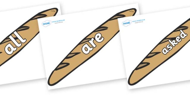 Tricky Words on Baguettes - Tricky words, DfES Letters and Sounds, Letters and sounds, display, words