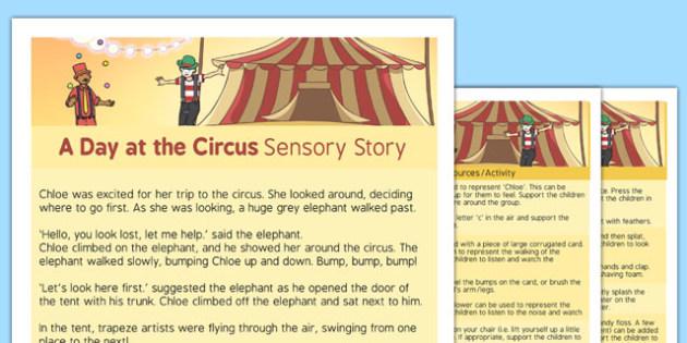 A Day at the Circus Sensory Story - interactive, sensory processing, sensory integration, autism, PMLD, MLD