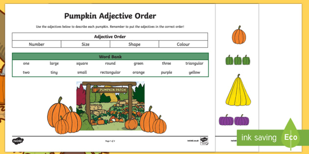 Pumpkin Adjective Order Activity Sheet