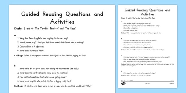 Guided Reading Questions Chapters 5 and 6 to Support Teaching on Fantastic Mr Fox - australia