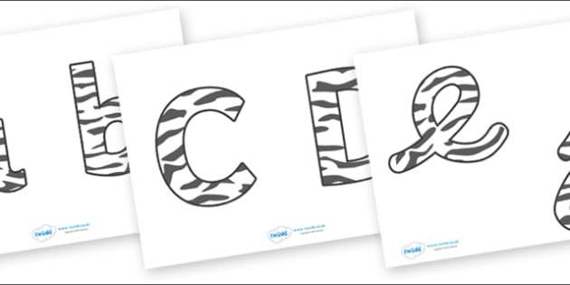 Display Lettering & Symbols (Zebra Print) - Display lettering, display letters, alphabet display, letters to cut out, letters for displays, coloured letters, coloured display, coloured alphabet