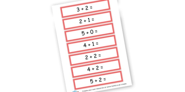 Addition up to 5 Cards - Addition Primary Resources, add, plus, more, adding, activities
