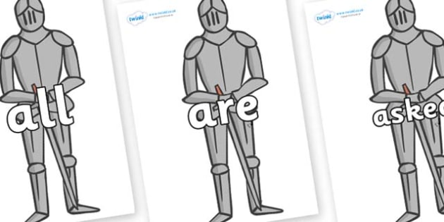 Tricky Words on Suits of Armour - Tricky words, DfES Letters and Sounds, Letters and sounds, display, words