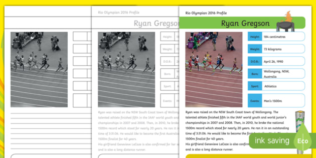 Australian Rio Olympian Ryan Gregson Handwriting Practice Activity Sheet-Australia, worksheet
