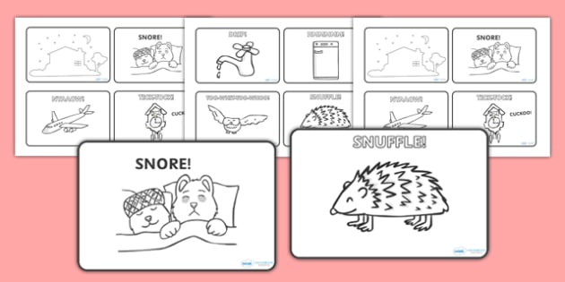 Peace at Last Story Sequencing (4 per A4) - Peace at Last, resources,  Jill Murphy, Large family, Mr Bear, Mrs Bear, Baby Bear, sleep, story, story book, story book resources, story sequencing, story resources, sequencing