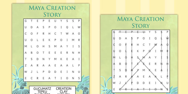 Mayan Civilization Creation Story Differentiated Wordsearch