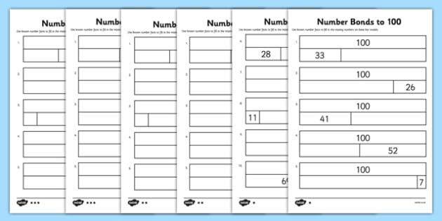Bar Modelling Number Bonds to 100 Differentiated Activity Sheet Pack - bar model, bar modelling, number bonds to 100, worksheet