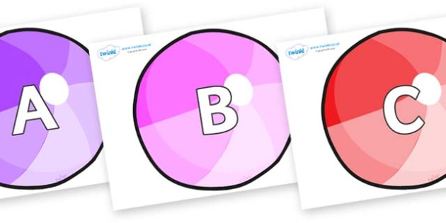A-Z Alphabet on Beachballs - A-Z, A4, display, Alphabet frieze, Display letters, Letter posters, A-Z letters, Alphabet flashcards