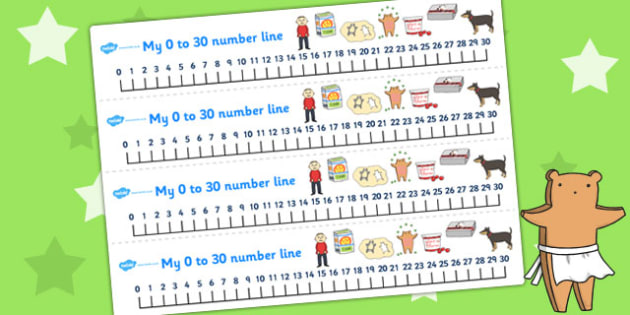 Number Lines 0-30 to Support Teaching on Biscuit Bear - number line, biscuit, maths
