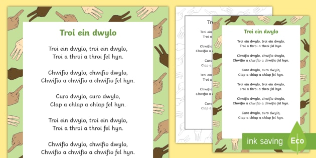 Turn Our Hands Welsh Second Language Song Lyrics - Welsh - Welsh, Welsh Second Language, Songs and Rhymes, Troi ein dwylo, Display Welsh, Welsh,Welsh