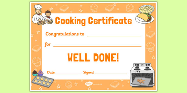 Cooking Reward Certificate - cooking, reward, certificate, cook, food, award