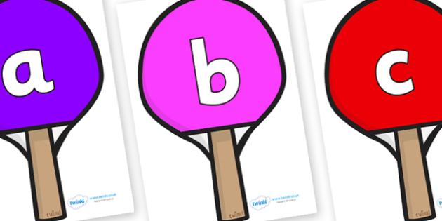 Phoneme Set on Table Tennis Bats - Phoneme set, phonemes, phoneme, Letters and Sounds, DfES, display, Phase 1, Phase 2, Phase 3, Phase 5, Foundation, Literacy