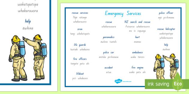 Ngā ratonga tūroro Emergency services Word Mat - New Zealand Natural Disasters, earthquake, tsunami, volcano, monsoon, hurricane, flood, tornado
