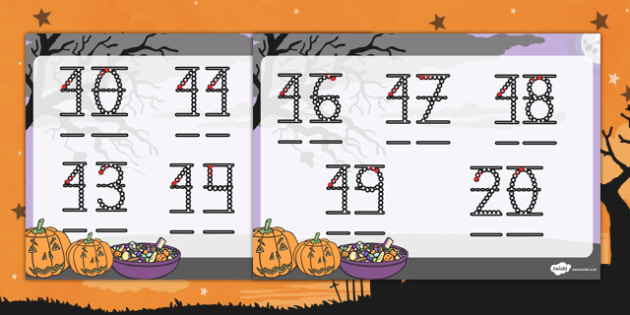 Halloween number formation sheet