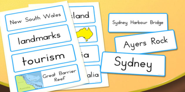Famous Australian Landmarks Word Cards - australia, landmarks