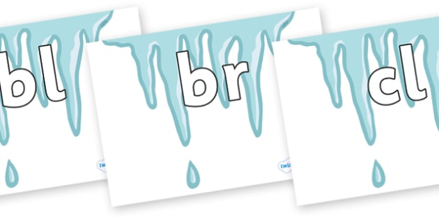 Initial Letter Blends on Icicles - Initial Letters, initial letter, letter blend, letter blends, consonant, consonants, digraph, trigraph, literacy, alphabet, letters, foundation stage literacy