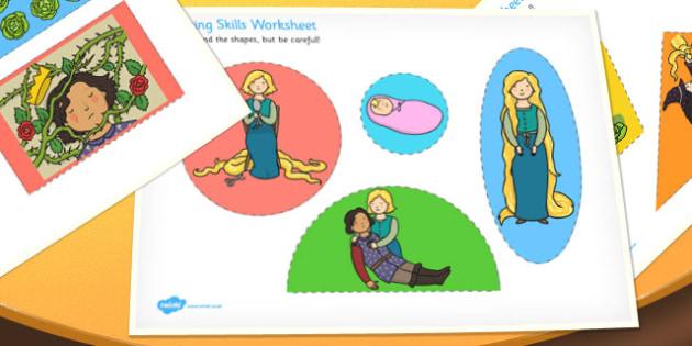 Rapunzel Themed Cutting Skills Worksheet - traditional tales, cut