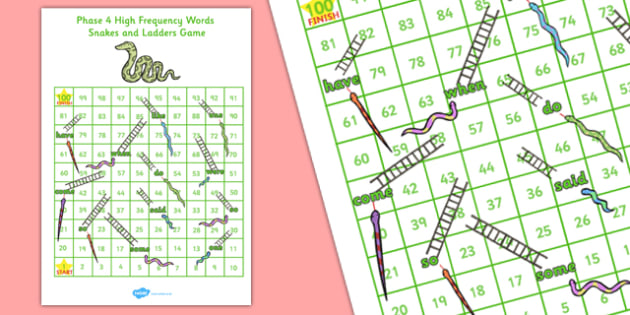 Phase 4 Snakes and Ladders - phase 4, snakes and ladders, snakes, ladders