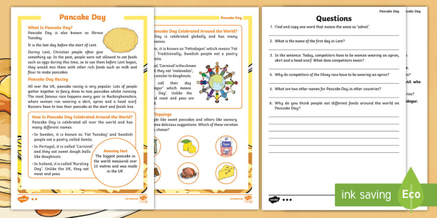 Pancake Day Differentiated Reading Comprehension Activity - Pancake ...