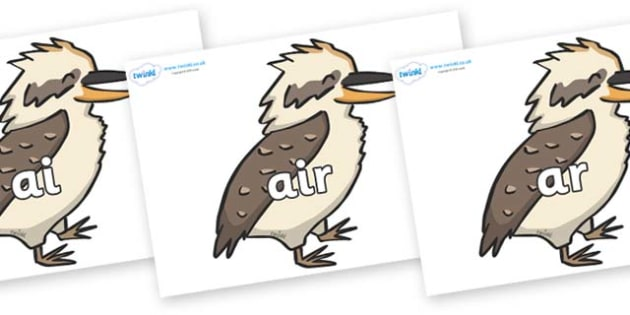 Phase 3 Phonemes on Kookaburras - Phonemes, phoneme, Phase 3, Phase three, Foundation, Literacy, Letters and Sounds, DfES, display